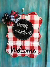 RED PLAID Christmas Decor, Holiday Decor, Outdoor Decor, Christmas, Merry Christmas Decor, Door Hanger