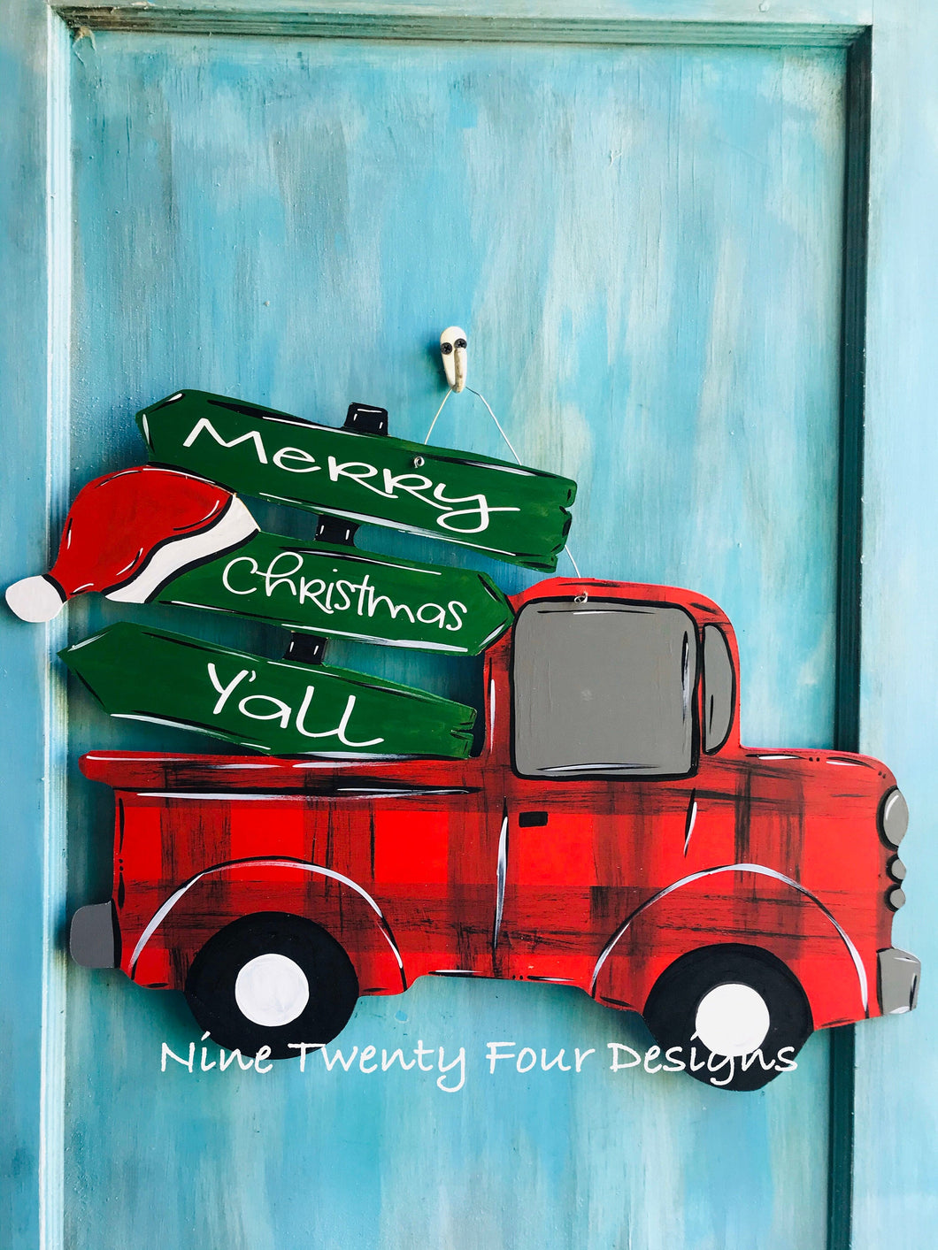 Red Truck, truck door hanger, Christmas decor, Christmas truck, holiday decor, porch decor, outdoor decor, holiday decoration