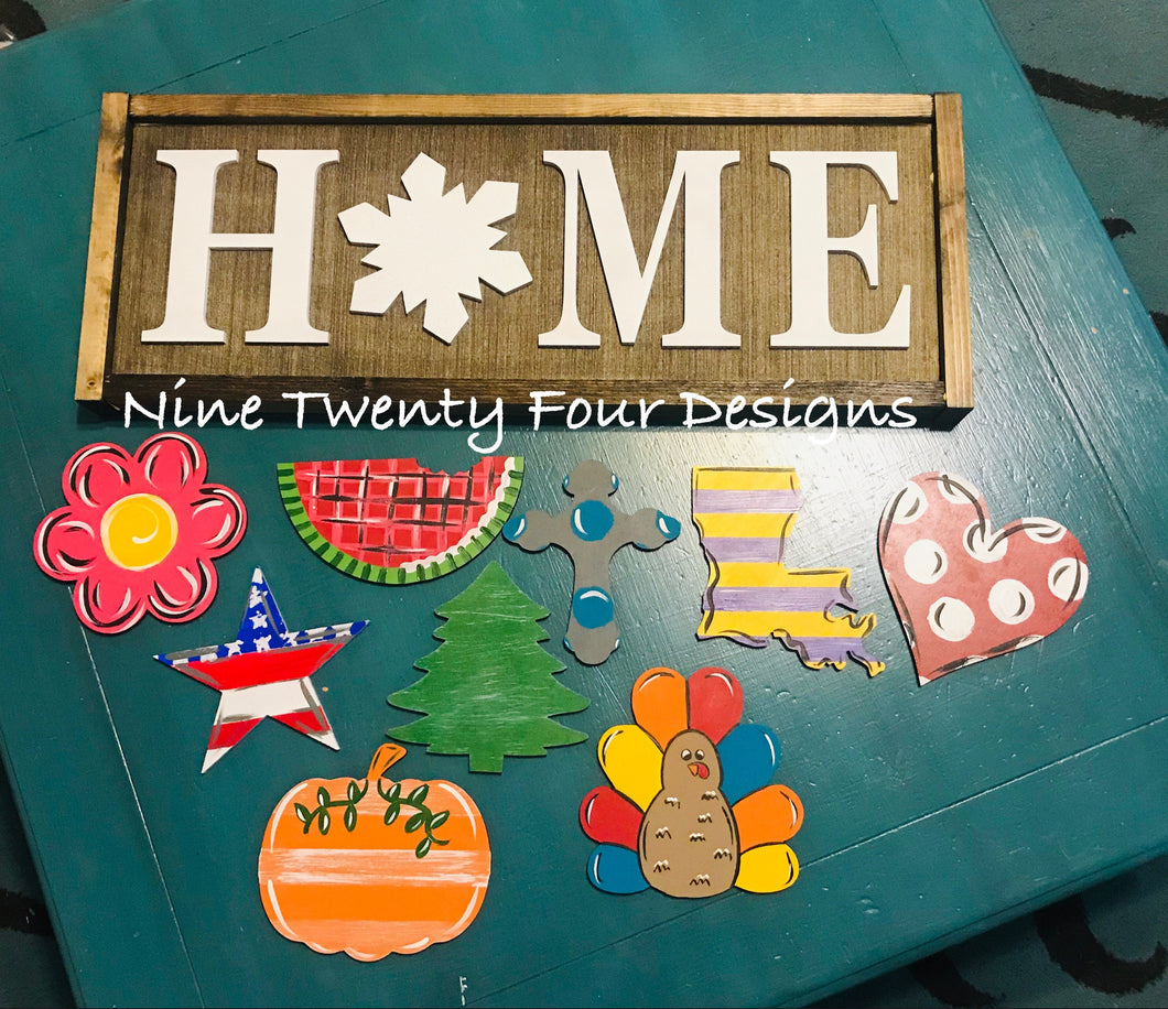 Home sign, interchangeable home sign, seasonal home sign, home decor, wood sign