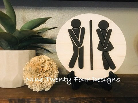 Bathroom sign, 3D bathroom sign, bathroom decor, bathroom, shiplap sign