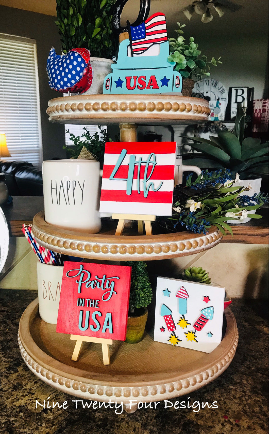 July 4th truck sign tiered tray set, tiered tray decor, July 4th signs, 3D signs, patriotic set