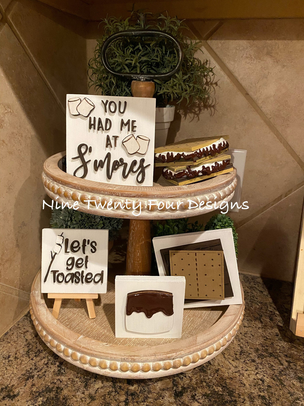 S'mores tiered tray set, s'mores, s'mores decor