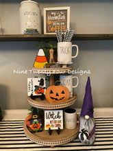 Halloween sign set, halloween set, halloween tiered tray signs, 3D signs, witch gnome