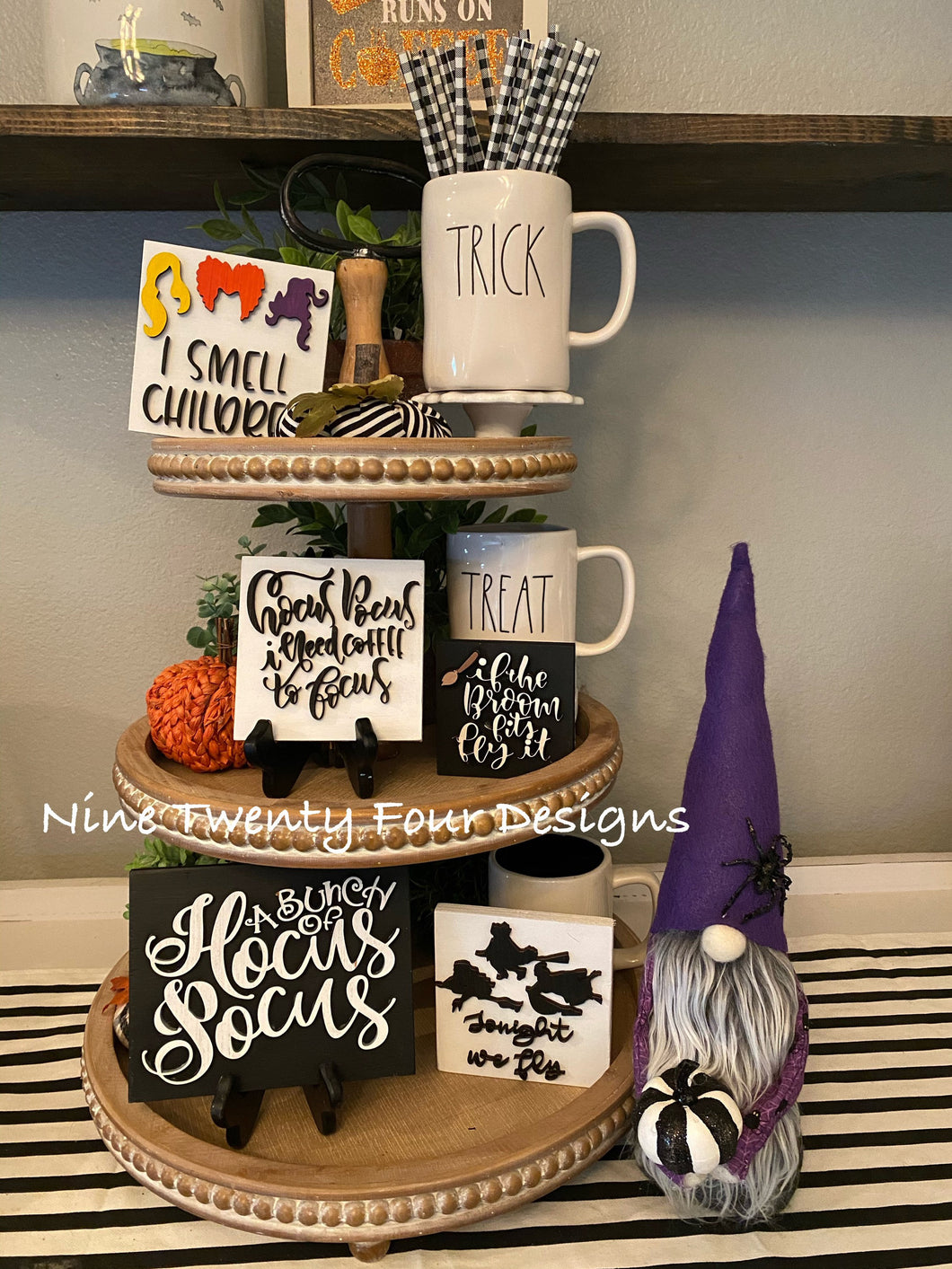 Sanderson Sister sign set, halloween set, halloween tiered tray signs, 3D signs, Hocus Pocus