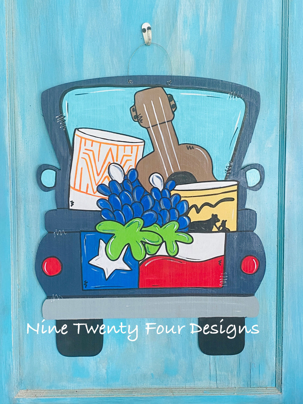texas favorites truck, bluebonnets, texas decor, texas, texas flag, texas door hanger, spring decor, summer decor
