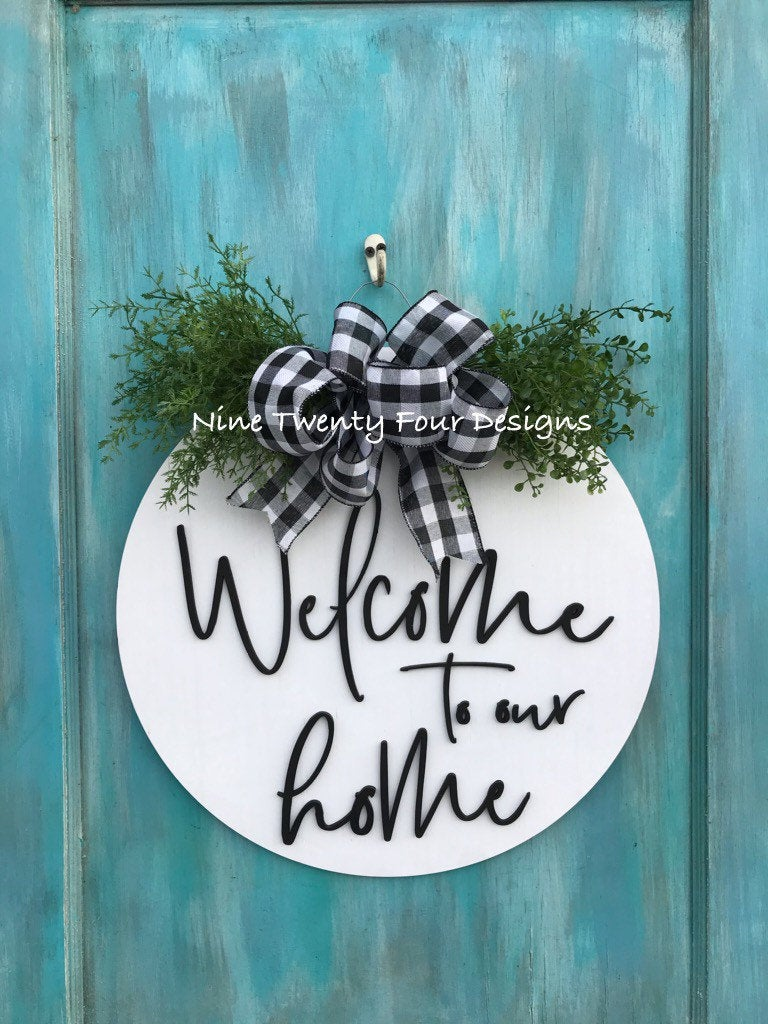 3d welcome to our home sign, welcome  sign, door sign, sign, 3d wood sign, door decor, front door decor, everyday decor