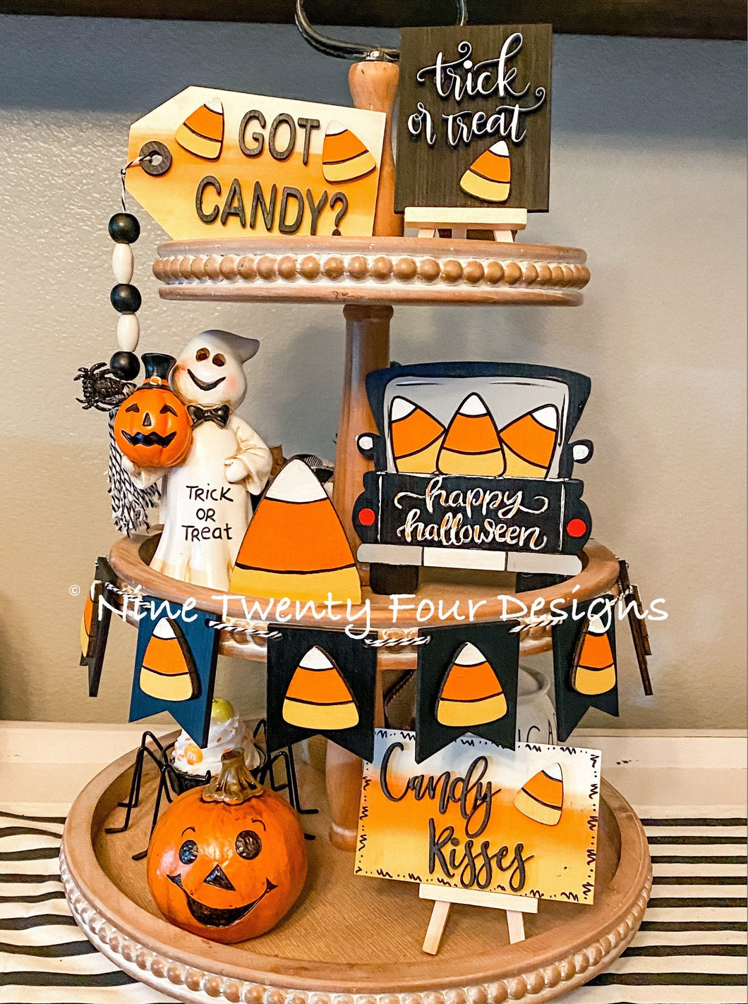 DIY Candy corn tiered tray set. Paint yourself kit
