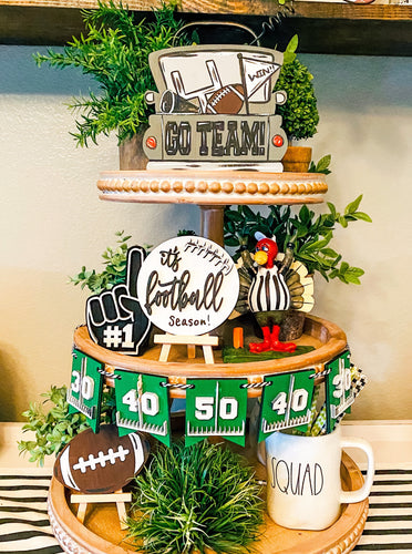 DIY Football tiered tray decor, Paint yourself kit