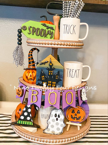 DIY Halloween tiered tray set, Paint yourself kit