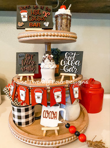 DIY Hot cocoa tiered tray set, tiered tray decor, Paint yourself