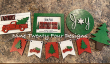 Christmas tree tiered tray set, banner, tiered tray decor, christmas tree farm