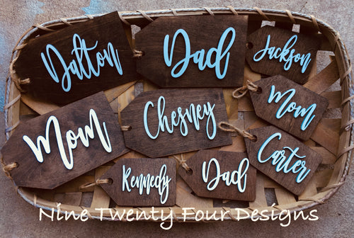 Wood Stocking Tags 3D Names