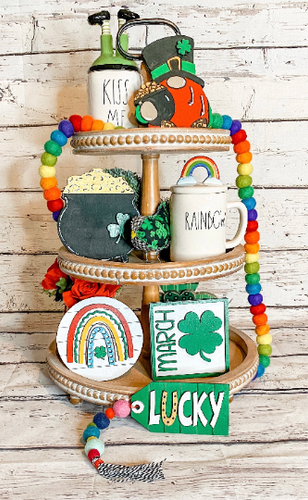 St. Patricks Day Tiered Tray signs, Leopard Gnome, Tray signs