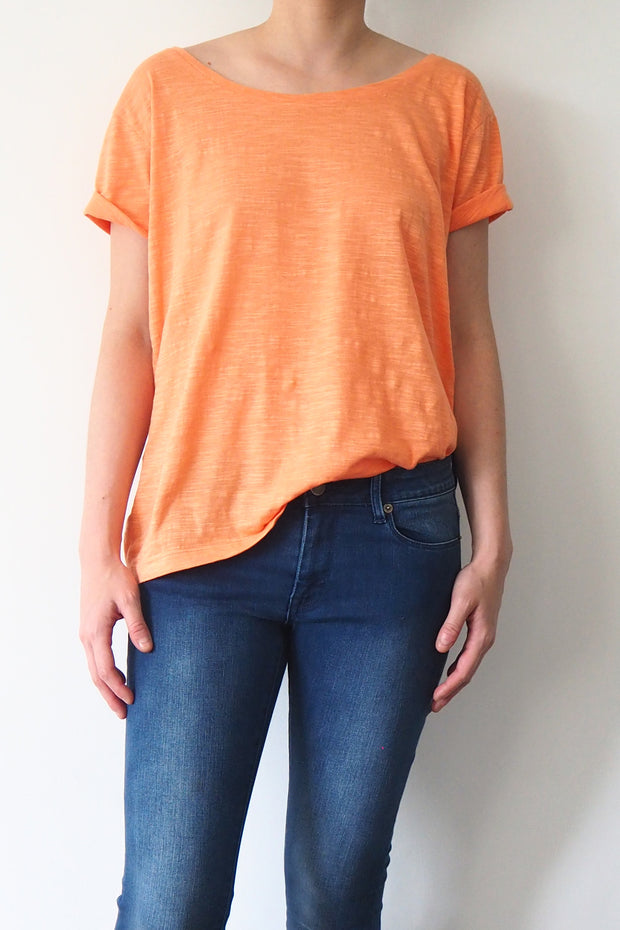 *New Item* Orange Round Neck  T-shirt