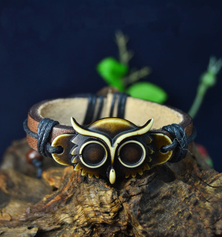 Leather Owl Bracelet