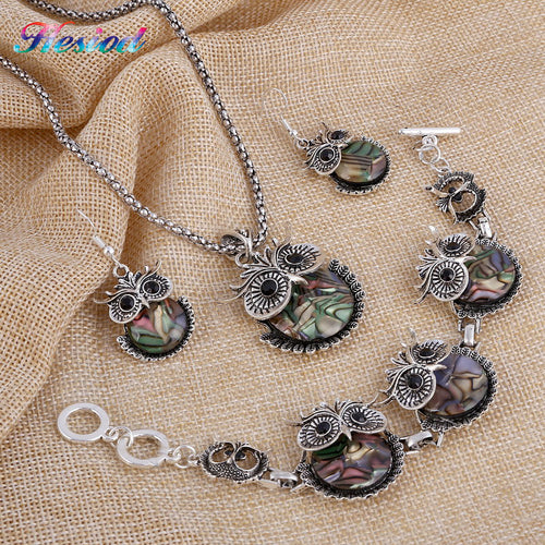 Abalone Shell Owl Jewelry Set