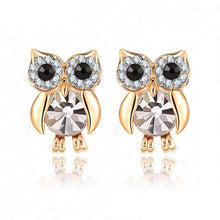 Gold Owl Earrings Studs