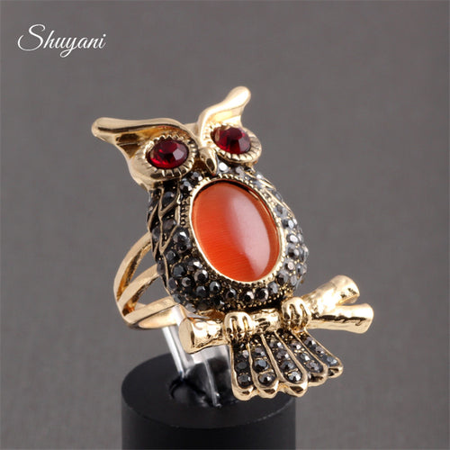 Gold Owl Ring