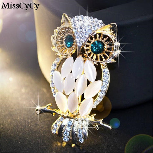 Crystal Owl Pin