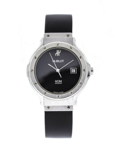 Hublot MDM Ladies 27mm Quartz Rubber Strap Black Dial Watch 1390.1