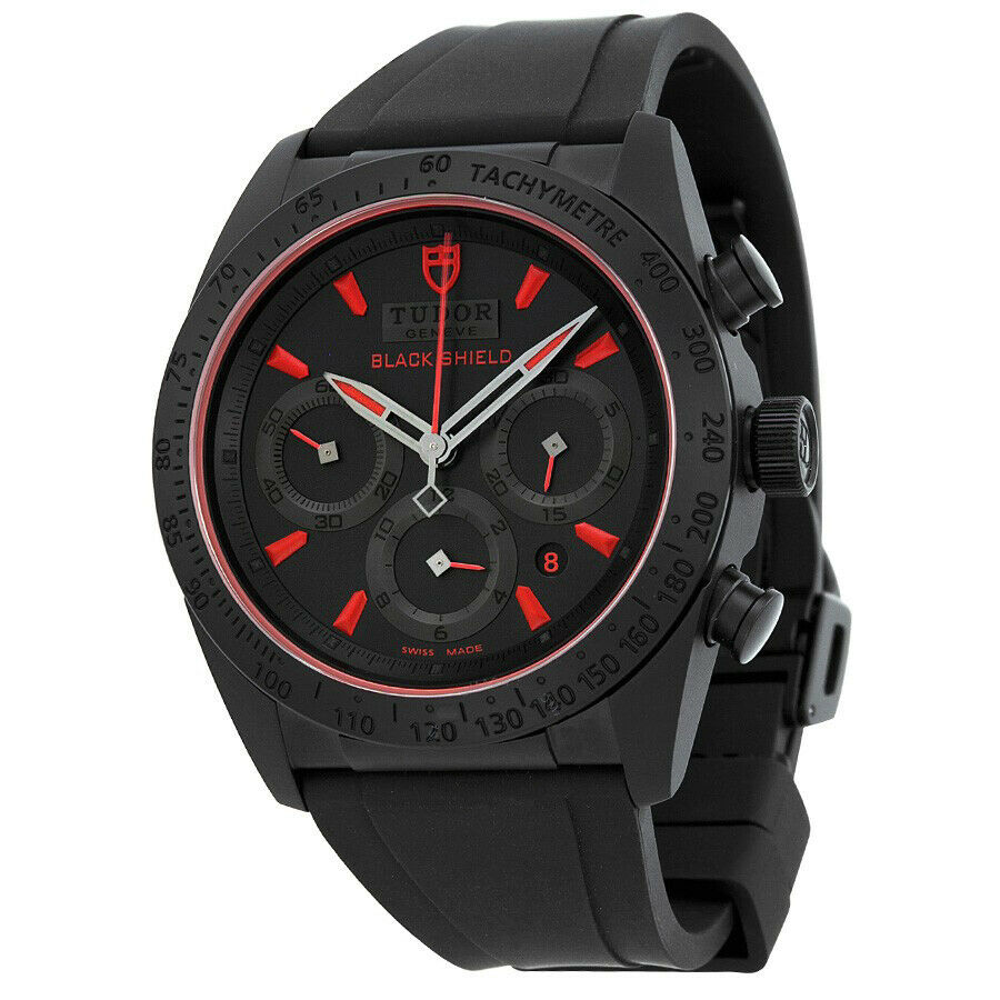 Tudor Fastrider Black Shield Black Dial Black Rubber Men's 42mm Watch 42000CR