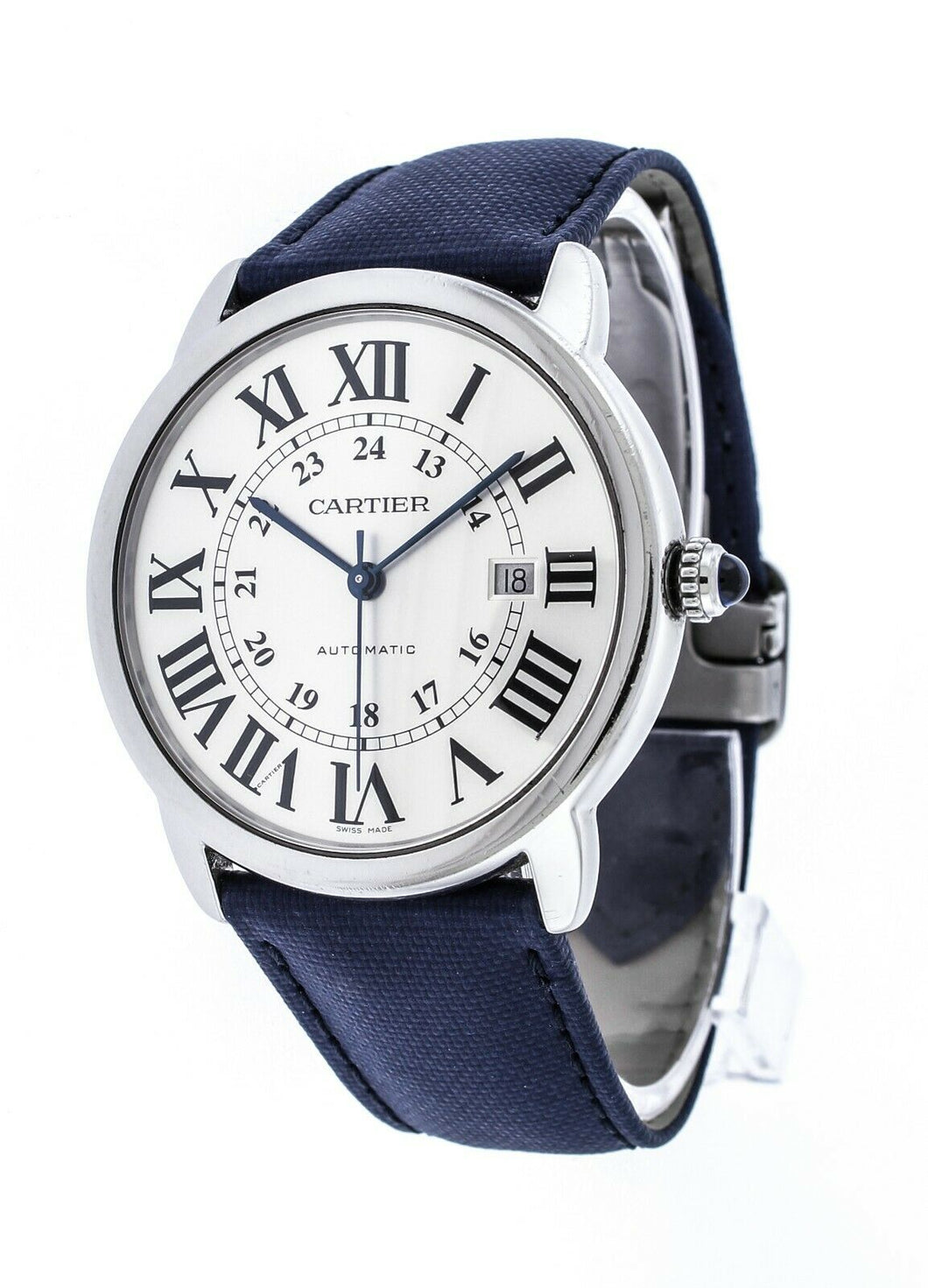 Cartier Ronde Solo XL Men's 42mm Automatic Leather Strap Watch W6701010