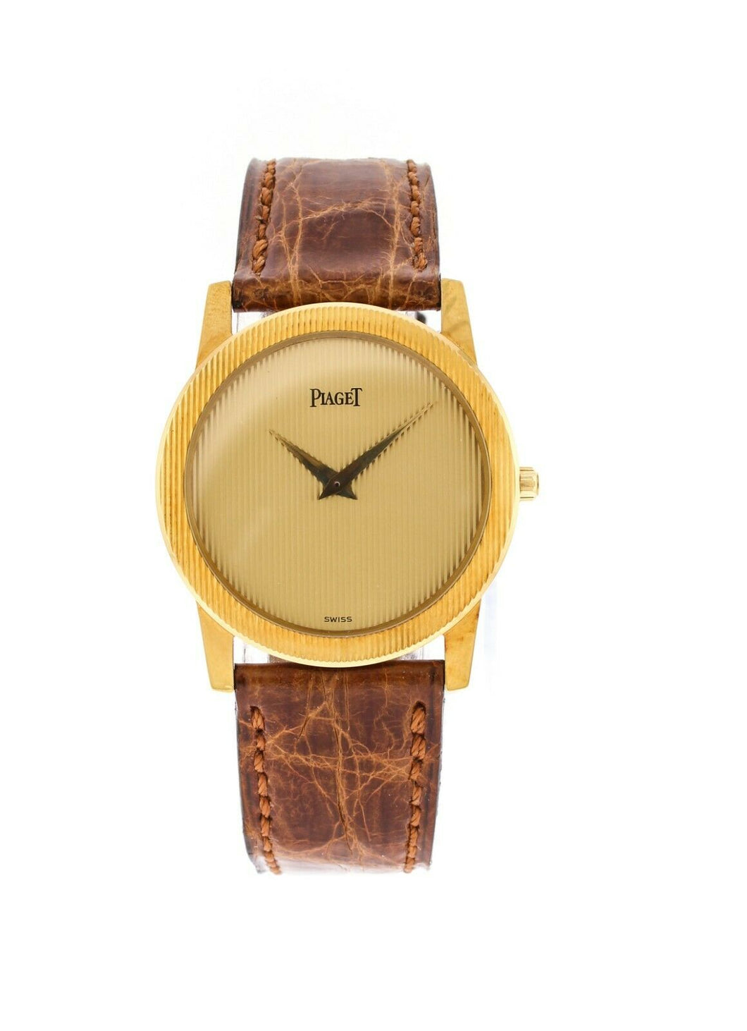 Piaget 18k Yellow Gold 31mm Quartz Brown Leather Strap Watch GOA16114