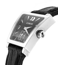 Corum Trapeze Black Dial Ladies Leather Strap Watch 105404200001