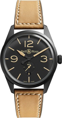 Bell & Ross Vintage Tan Leather Strap Men's Automatic 41mm Watch BR-123 Heritage