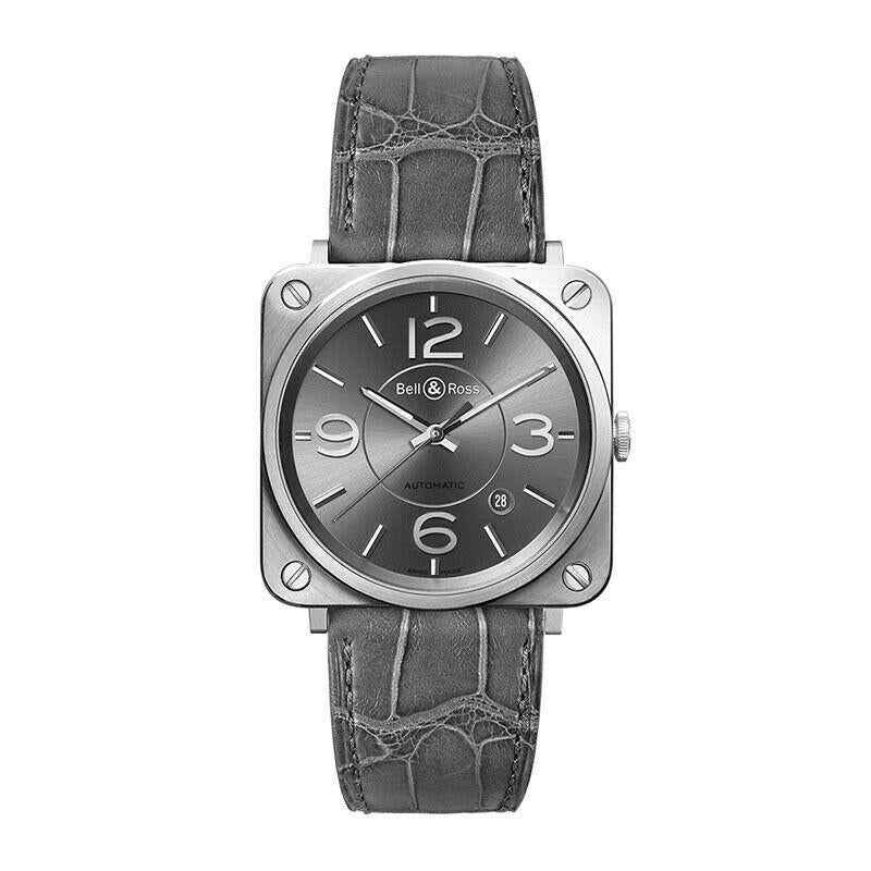 Bell & Ross Officer Ruthenium Dial Automatic Men's 39mm Watch BRS92-RU-ST/SCR