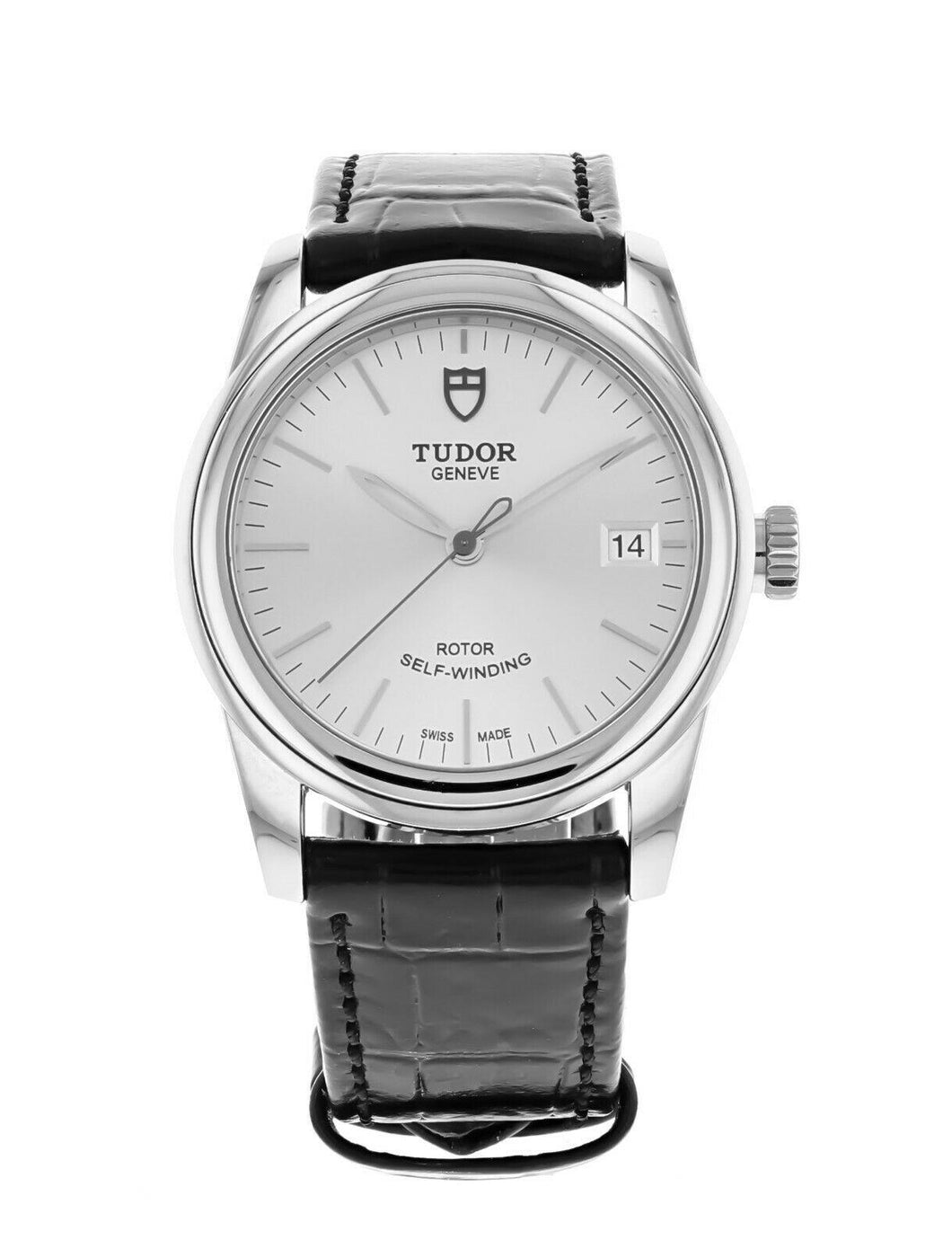 Tudor Glamour Date 36mm Automatic Leather Strap Watch M55000-0042