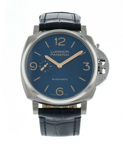 Panerai Luminor Due 3-Days Titanium Auto 45mm Leather Strap Men's Watch PAM 729