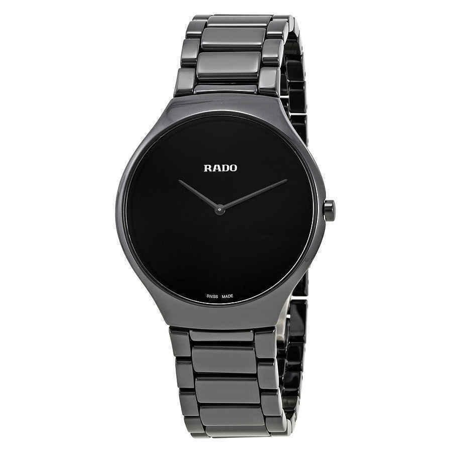 Rado True Thinline Black Ceramic Men's 39mm Watch R27741182