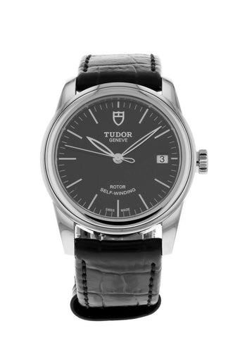Tudor Glamour Date 36mm Automatic Leather Strap Black Dial Watch M55000
