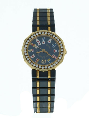 Corum Admiral's Cup 18k Yellow Gold & Steel Diamond Bezel 26mm Ladies Watch