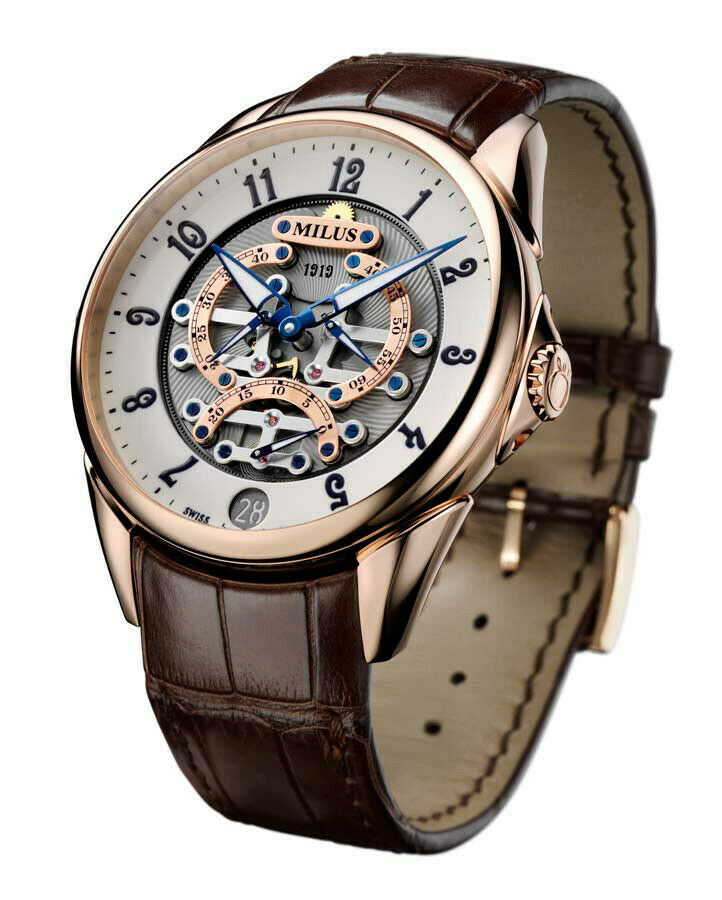 Milus Tirion TriRetrograde 18kt Rose Gold Automatic Men's 45mm Watch TIRI600