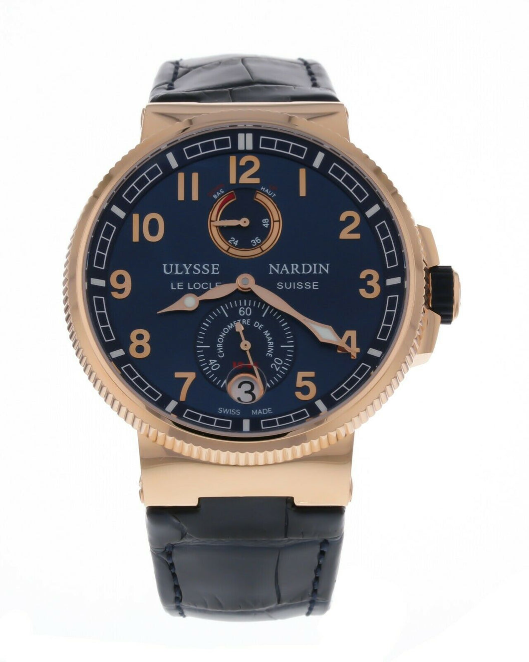 Ulysse Nardin Marine Chronometer 18K Rose Gold Blue Dial 43mm Men's Watch