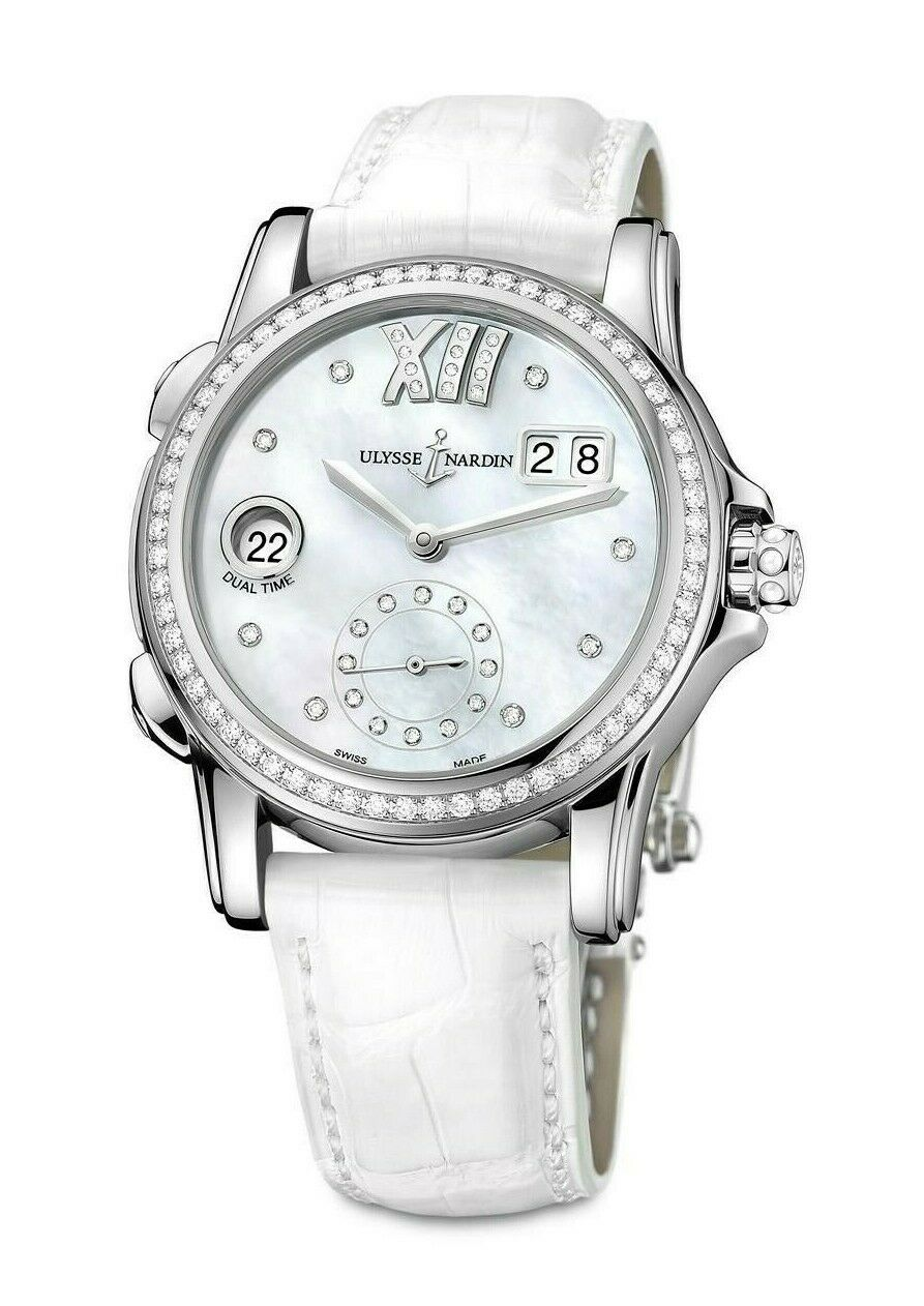 Ulysse Nardin Dual Time Mother of Pearl Dial Diamond Automatic Ladies Watch