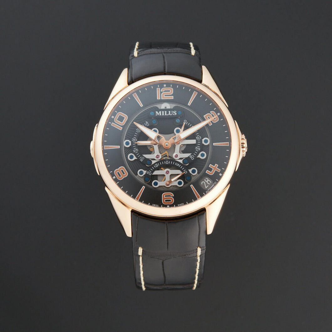 Milus Tirion TriRetrograde Automatic Black Dial Men's 18k Gold Watch TIRI402