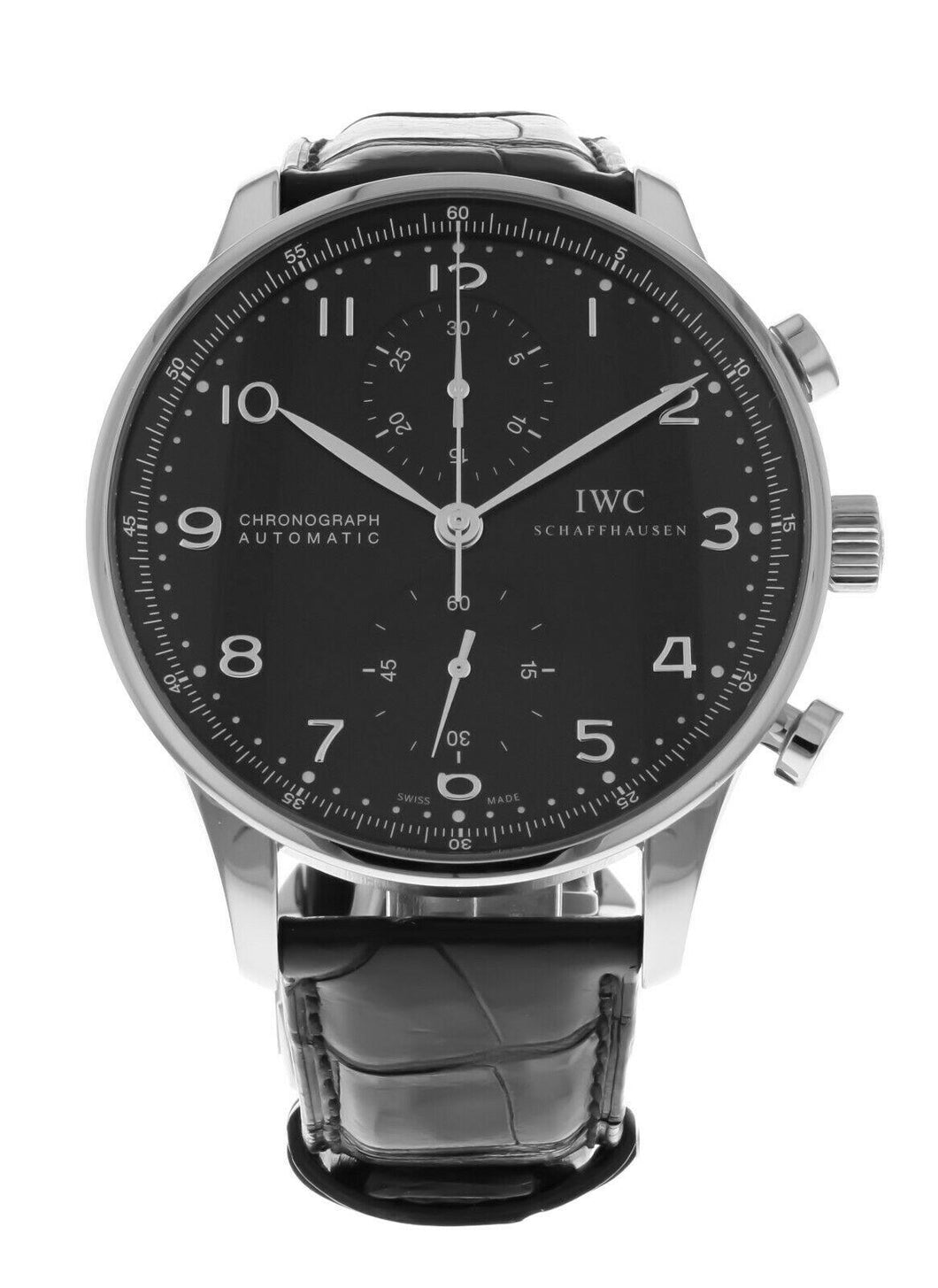 IWC Portuguese Automatic Chronograph Black Dial Men's Watch 3714-47