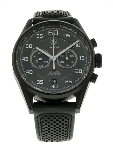 Tag Heuer Carrera Flyback Chronograph 43mm Black Leather Men's Watch CAR2B80
