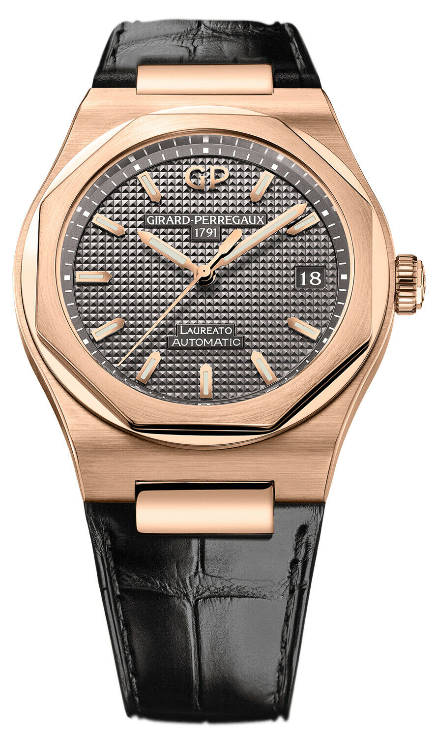 Girard Perregaux Laureato Automatic 38mm 18k Rose Gold Watch 81005-52-232-BB6A