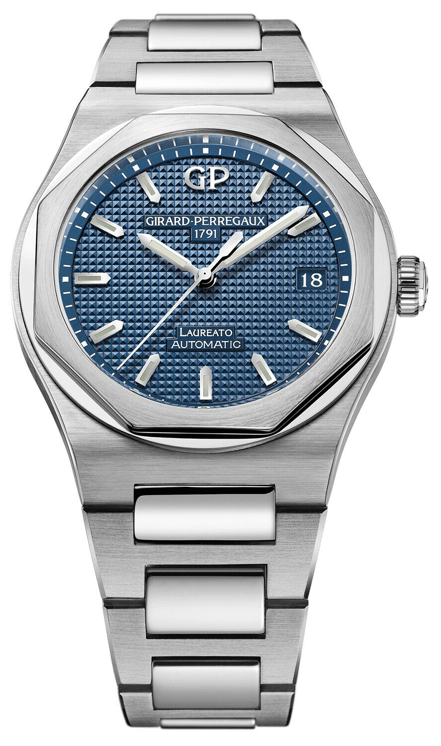Girard Perregaux Laureato Automatic 38mm Blue Dial Steel Watch 81005-11-431-11A