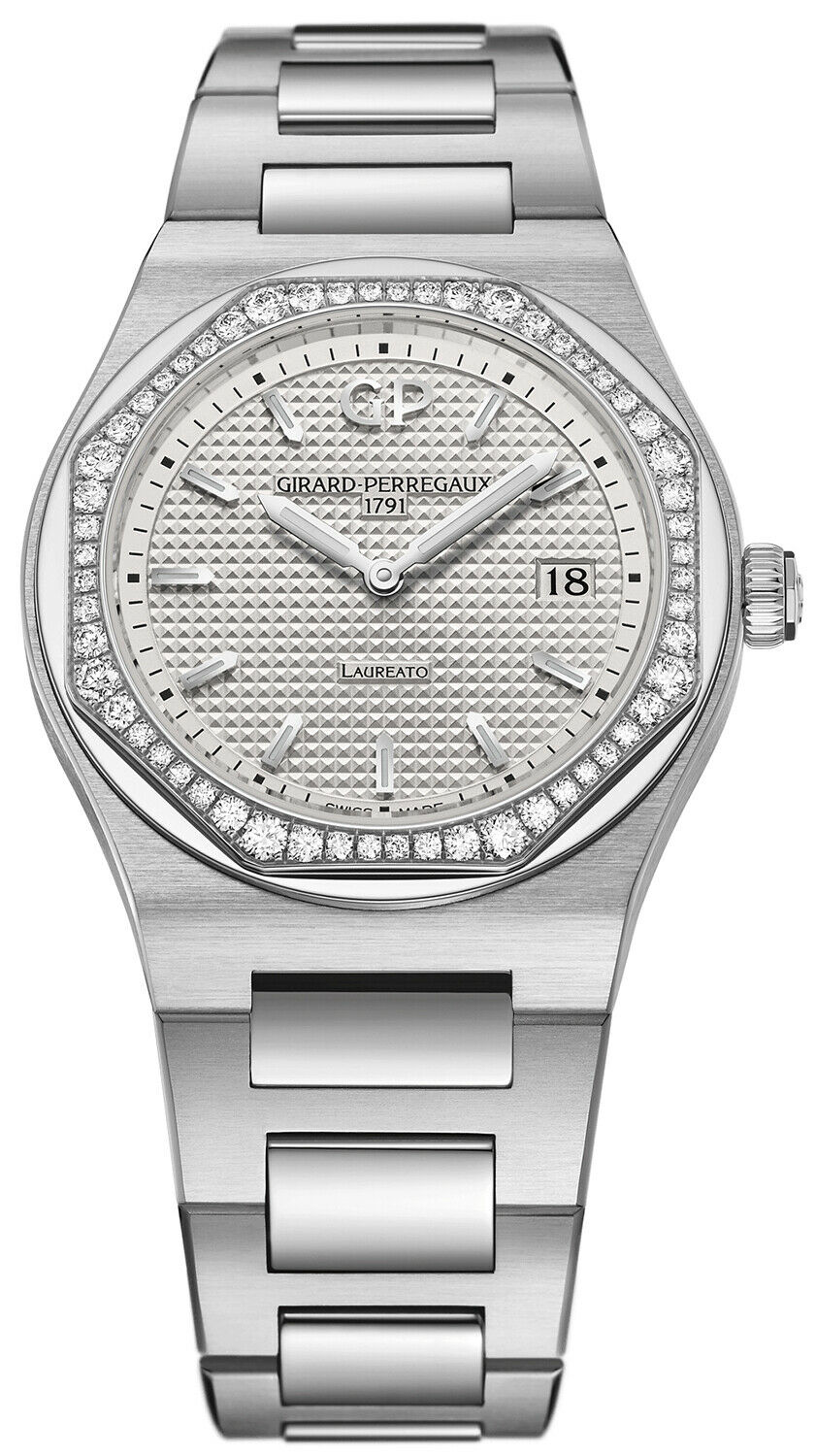Girard Perregaux Laureato Quartz 34mm Ladies Diamond Bezel Stainless Steel Watch