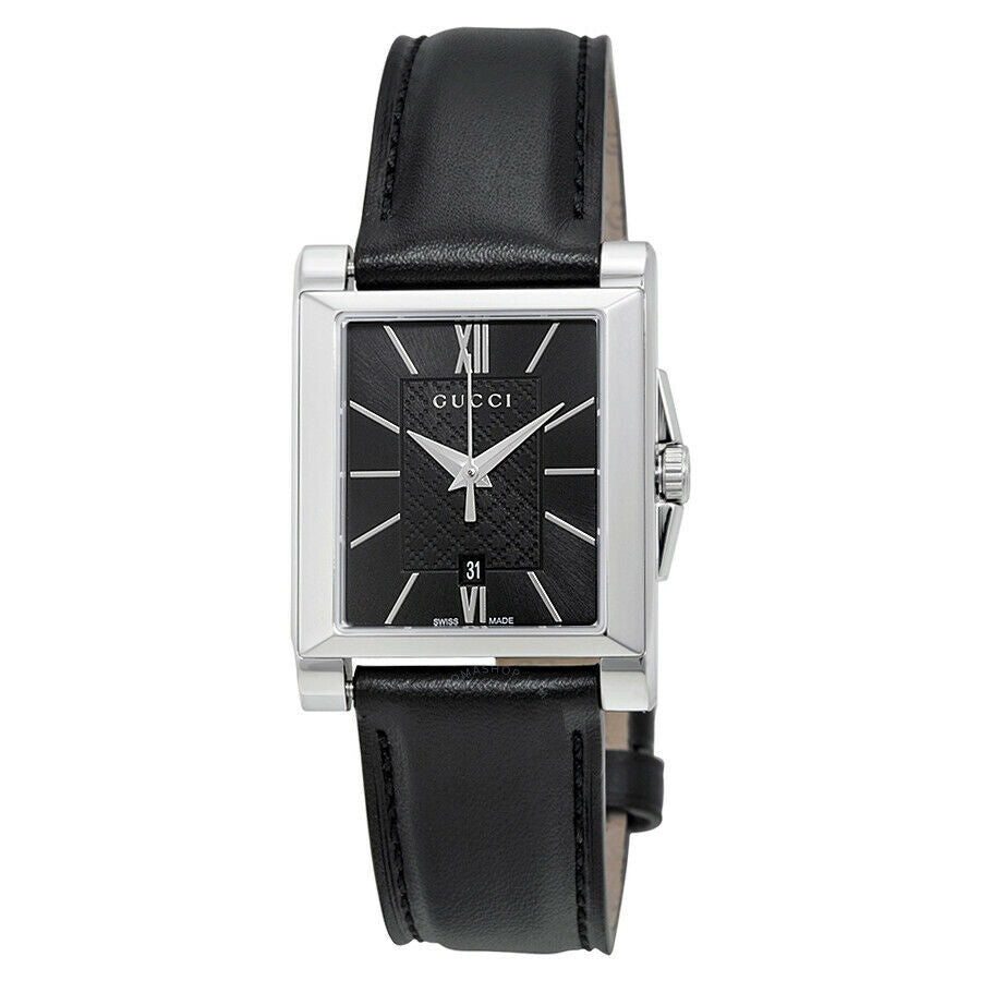 Gucci G-Timeless Small Black Dial Black Leather Ladies Quartz Watch YA138503