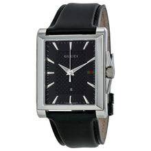 Gucci G-Timeless Black Dial Black Leather Men's Watch YA138404