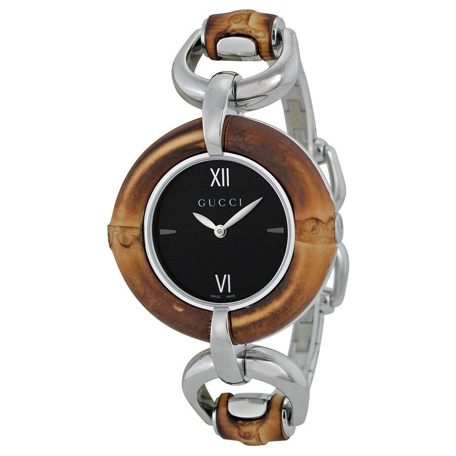 Gucci Black Dial Bamboo and Stainless Steel Ladies Watch YA132401