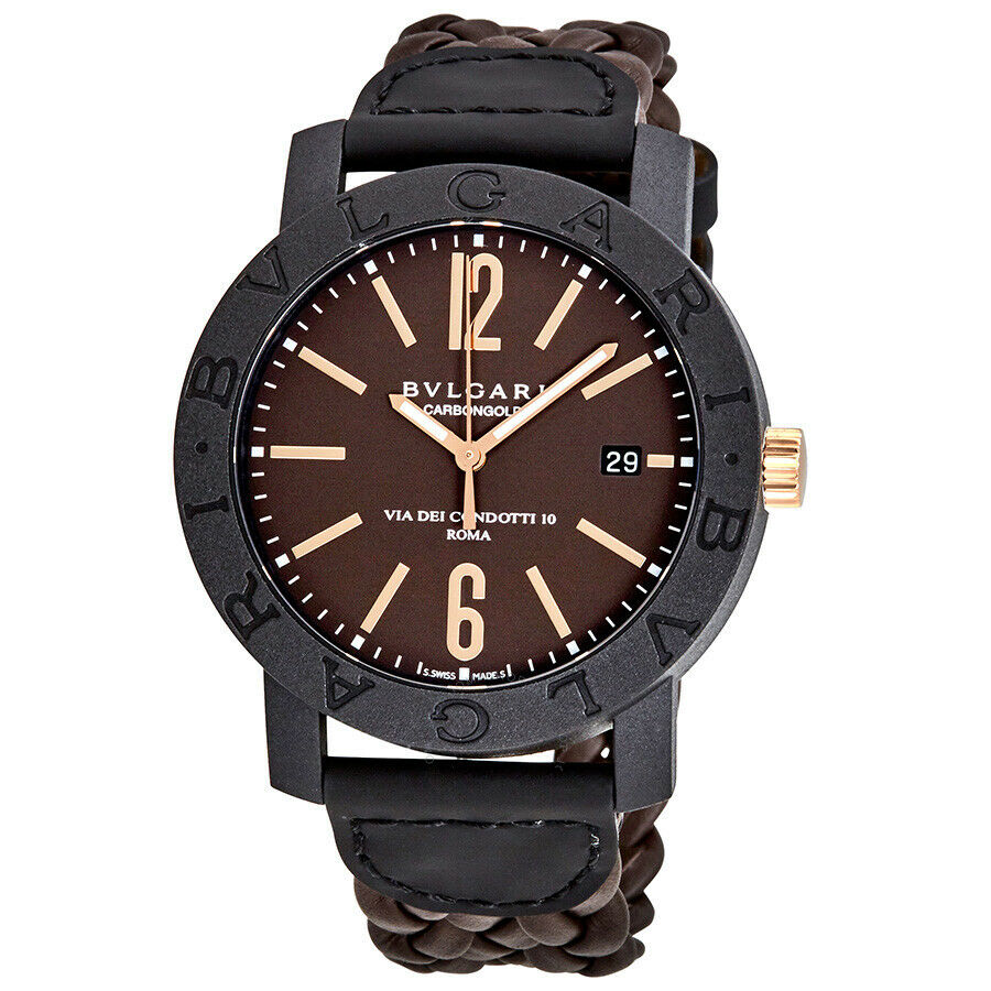 Bvlgari Carbon Gold Automatic Brown Dial Men's 40mm Watch 102633