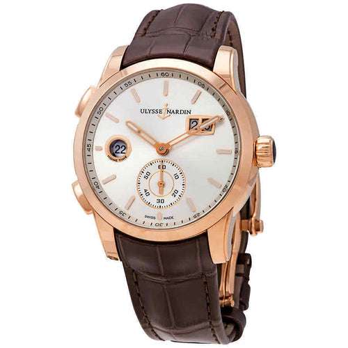 Ulysse Nardin Dual Time Silver Dial 18kt Rose Gold Men's Watch 3346-126-91