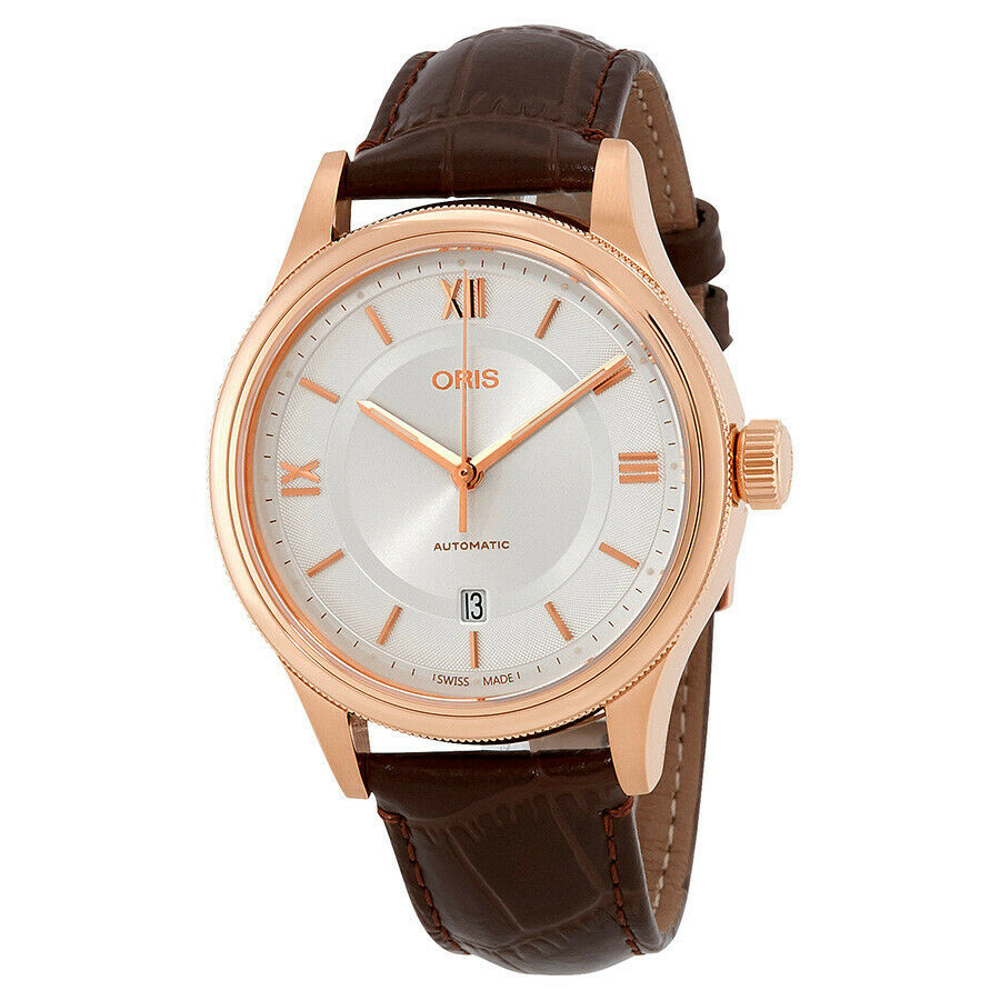 Oris Classic Automatic Rose Gold-Tone Men's 42mm Leather Watch 733 7719 4871